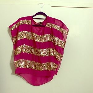 Rampage xsmal glitter pink shirt with crew neck